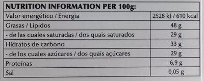 Lindt Excellence Doux 70% - Información nutricional - es