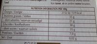 Tablette de chocolat - le coulis d'orange - Informations nutritionnelles - fr
