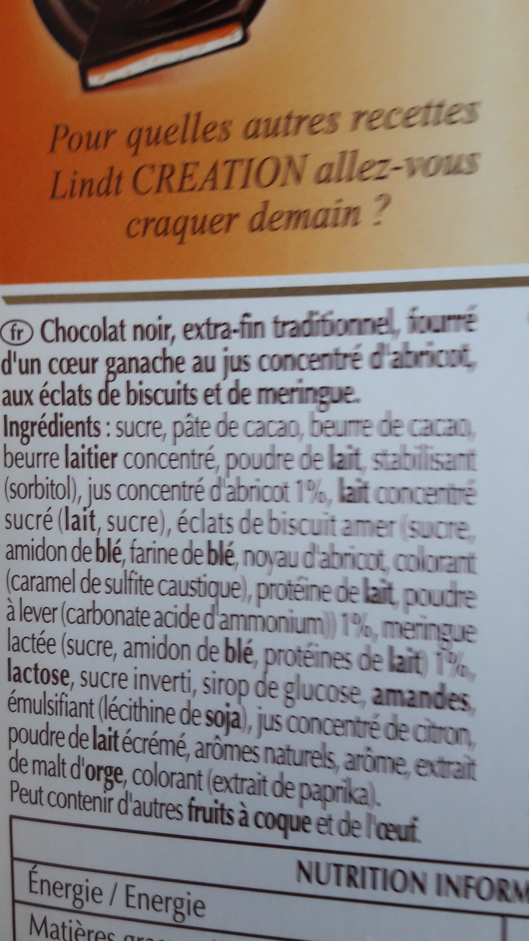 Lindt creation les macarons noir abricot - Ingrediënten