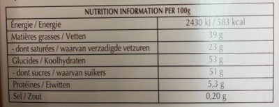 Creation, la crème brûlée - Informations nutritionnelles