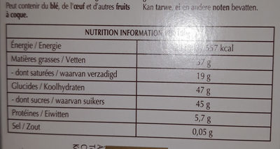 Le rocher noir - Nutrition facts - fr