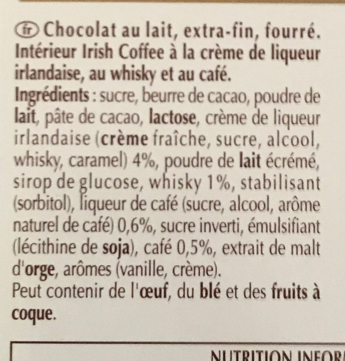 Creation Irish Coffee au Whisky - Ingredients