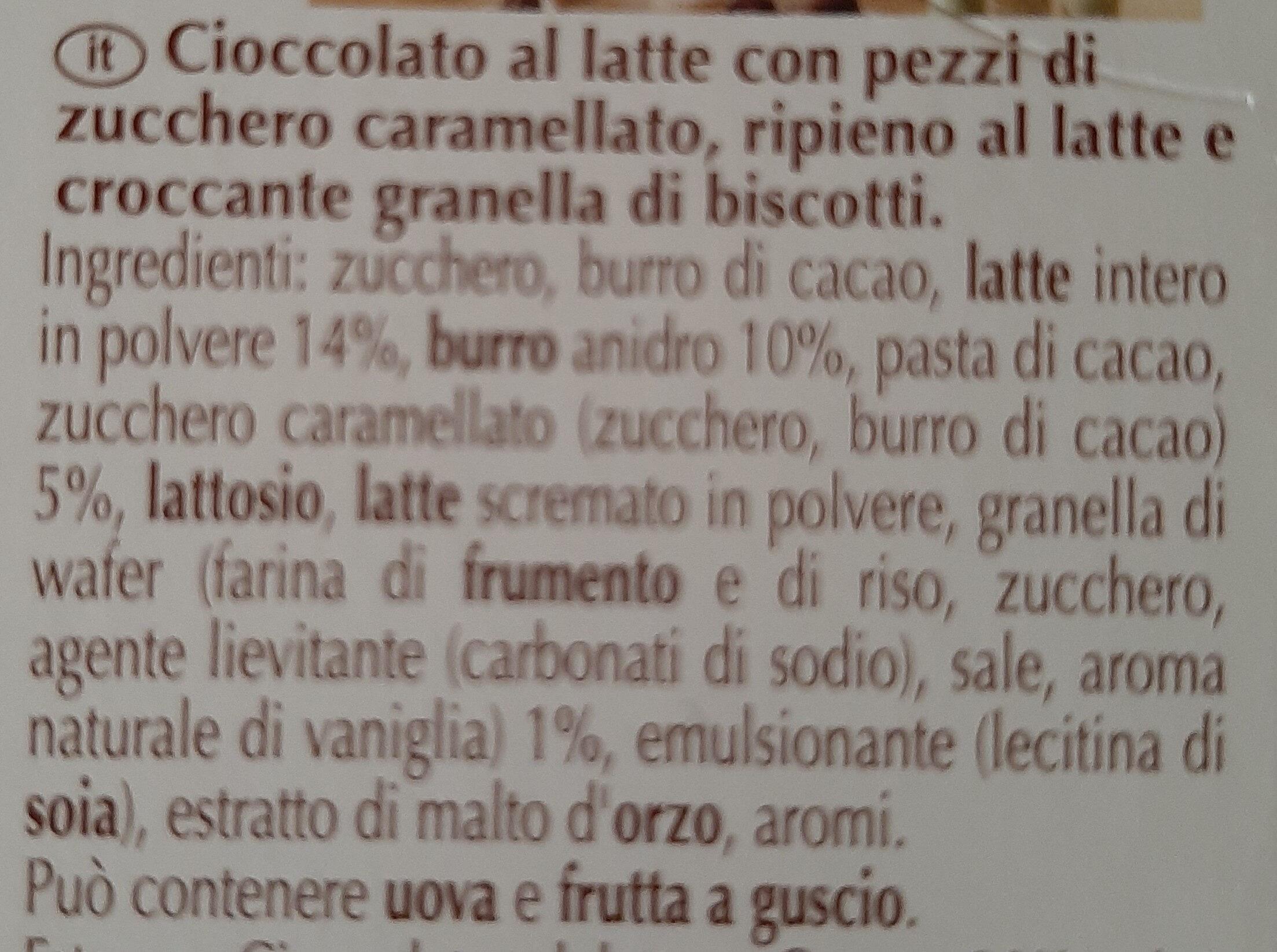 Cioccolato al latte con pezzi di zucchero caramellato - Ingredients - it