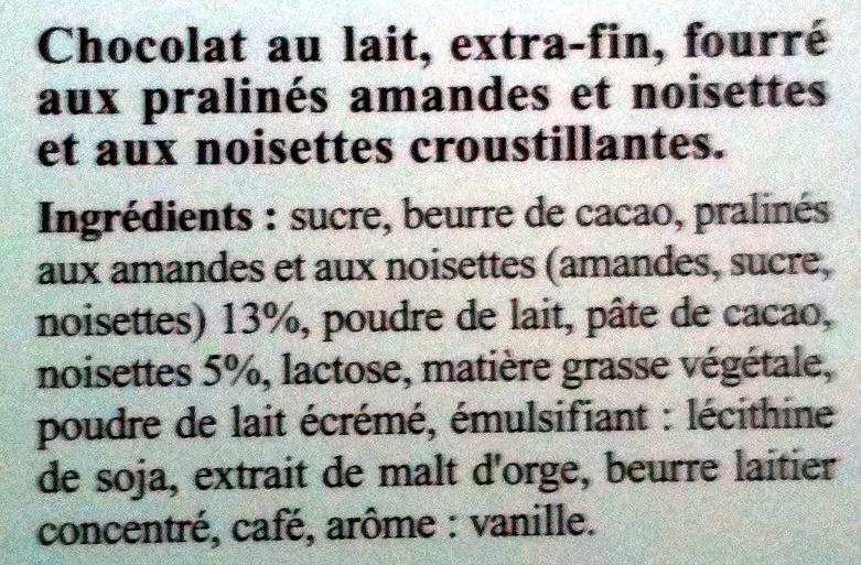 Création Rocher Lait - Ingredients - fr