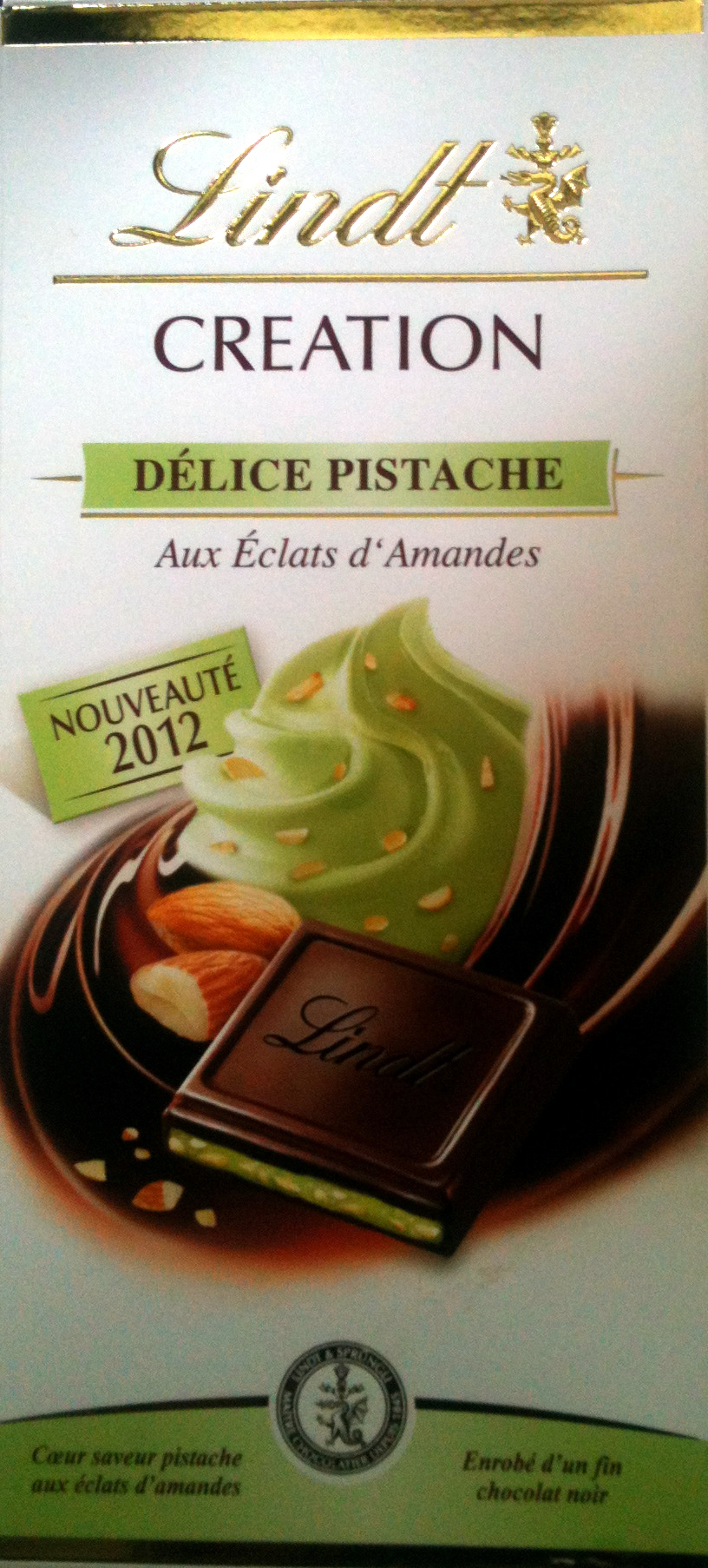Création Délice pistache - Chocolat noir aux éclats d'amandes - Product - fr