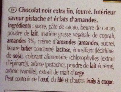 Création Délice pistache - Chocolat noir aux éclats d'amandes - Ingredients - fr