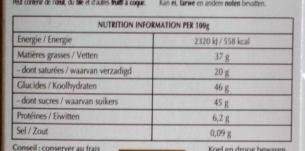 Création Délice pistache - Chocolat noir aux éclats d'amandes - Nutrition facts - fr