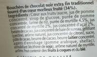 Sensation Fruit - Chocolat Noir - Myrtille & Açaï - Ingredients - fr