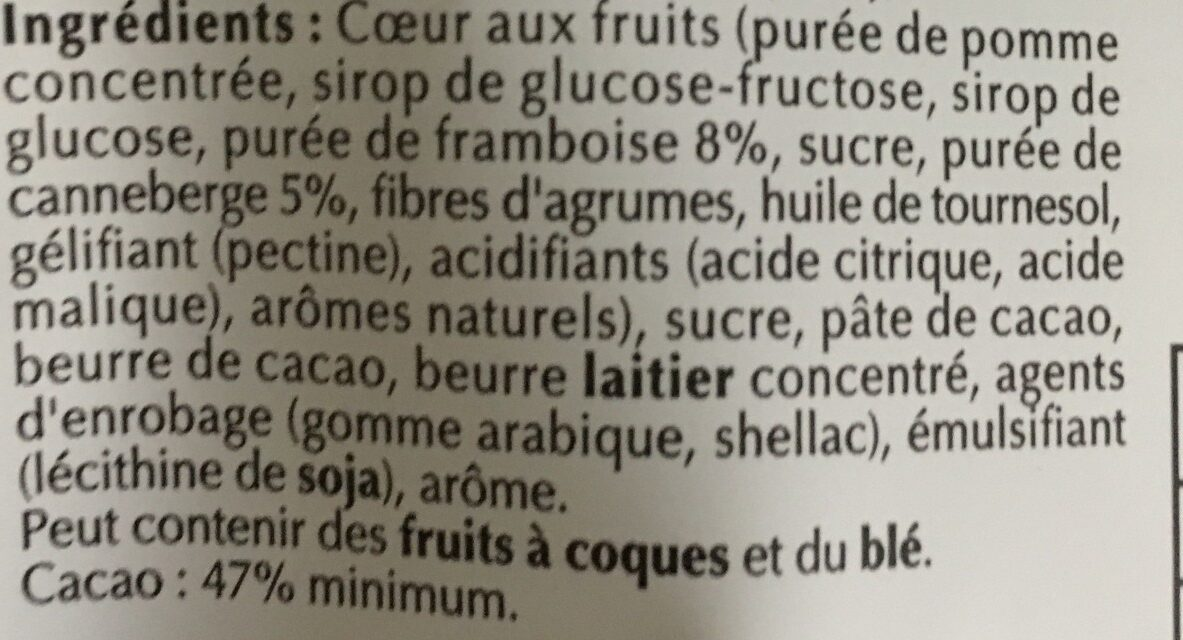 Sensation Fruit Framboise & Cranberry - Ingrédients - fr