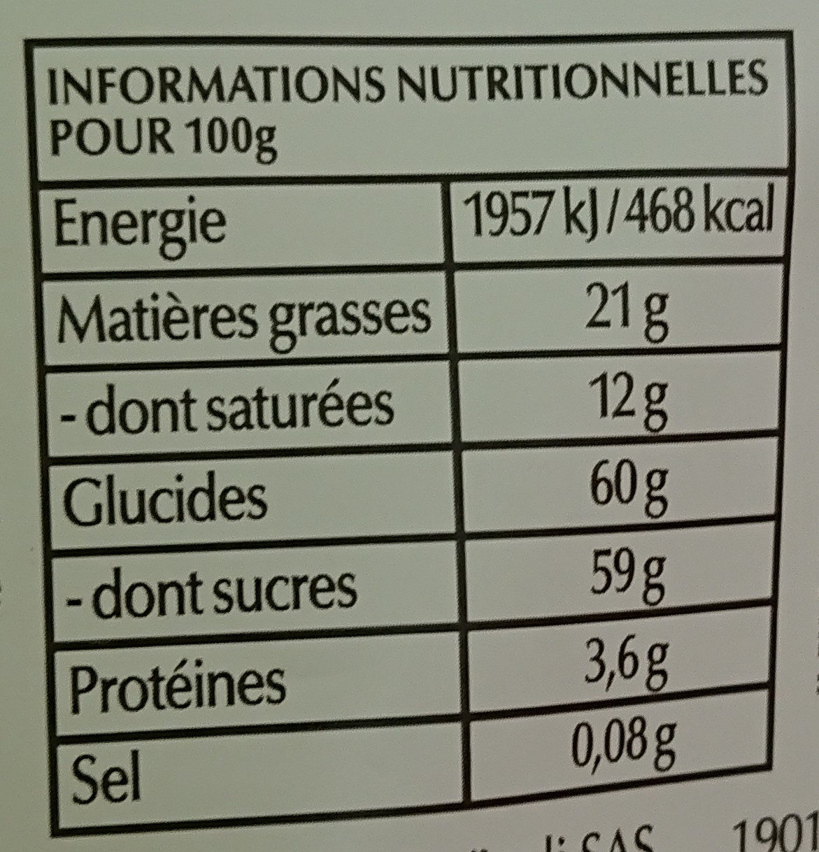 Sensation Fruit Framboise & Cranberry 65 g - Voedingswaarden
