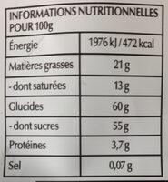 Lindt sensation fruit myrtilles & acai - Informations nutritionnelles