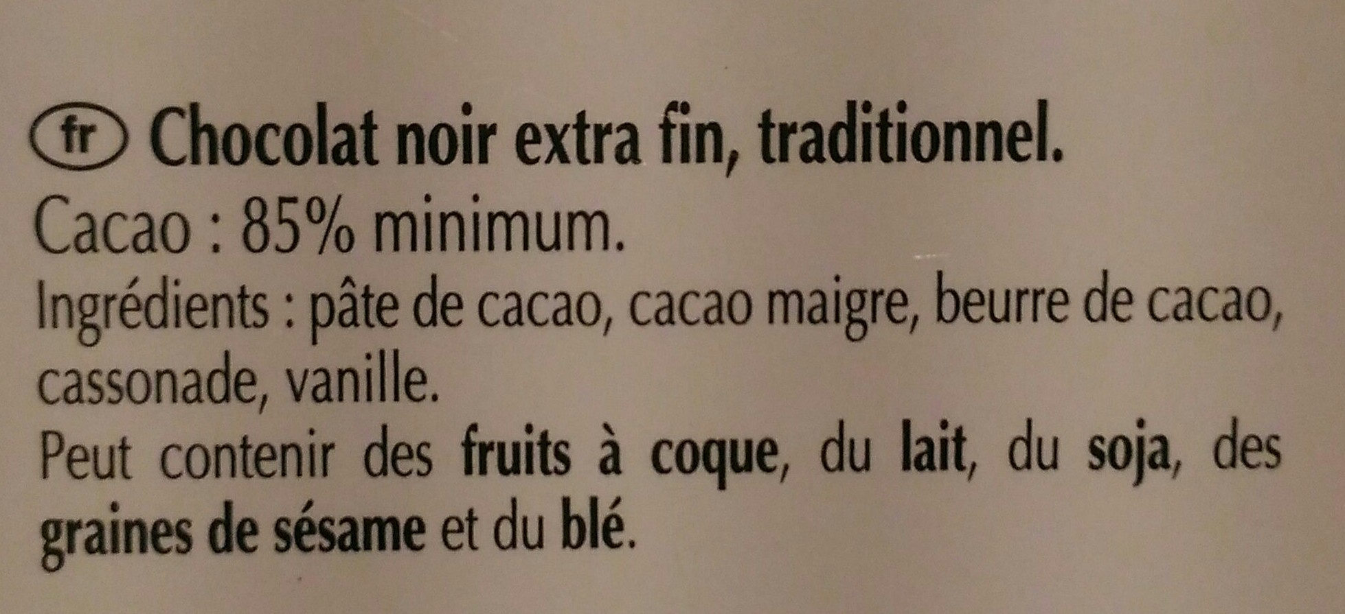 Excellence 85% Cacao Noir Puissant (offre gourmet) - Ingredients - fr