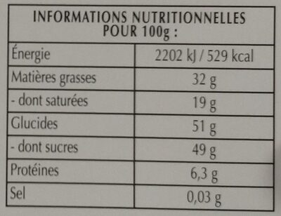 Excellence Menthe Intense - Nutrition facts - fr