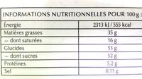 Lindt Connaisseurs - Informations nutritionnelles
