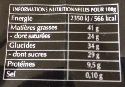 30 carrés dégustation Noir intense - Informations nutritionnelles