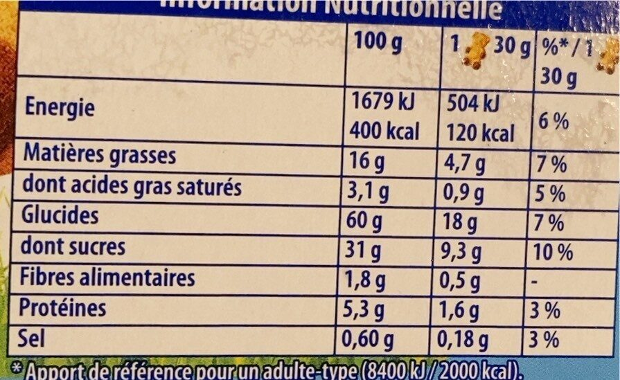 L'Ourson Chocolat - Informations nutritionnelles - fr