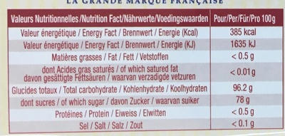 Les Bêtises de Cambrai Menthe - Nutrition facts