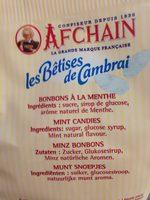 Sachet Betises De Cambrai Menthe - Ingredients