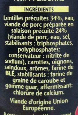 1898 Petit Salé aux Lentilles - Ingredients - fr