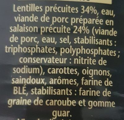Petit salé aux lentilles - Ingrediënten