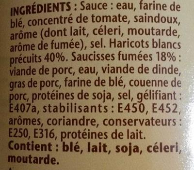 Les saucisses aux haricots - Ingredients