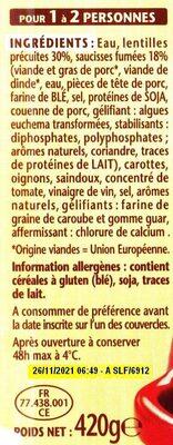 Saucisse lentilles 1/2 - Ingredienti