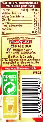 Les Saucisses aux Lentilles - Informations nutritionnelles