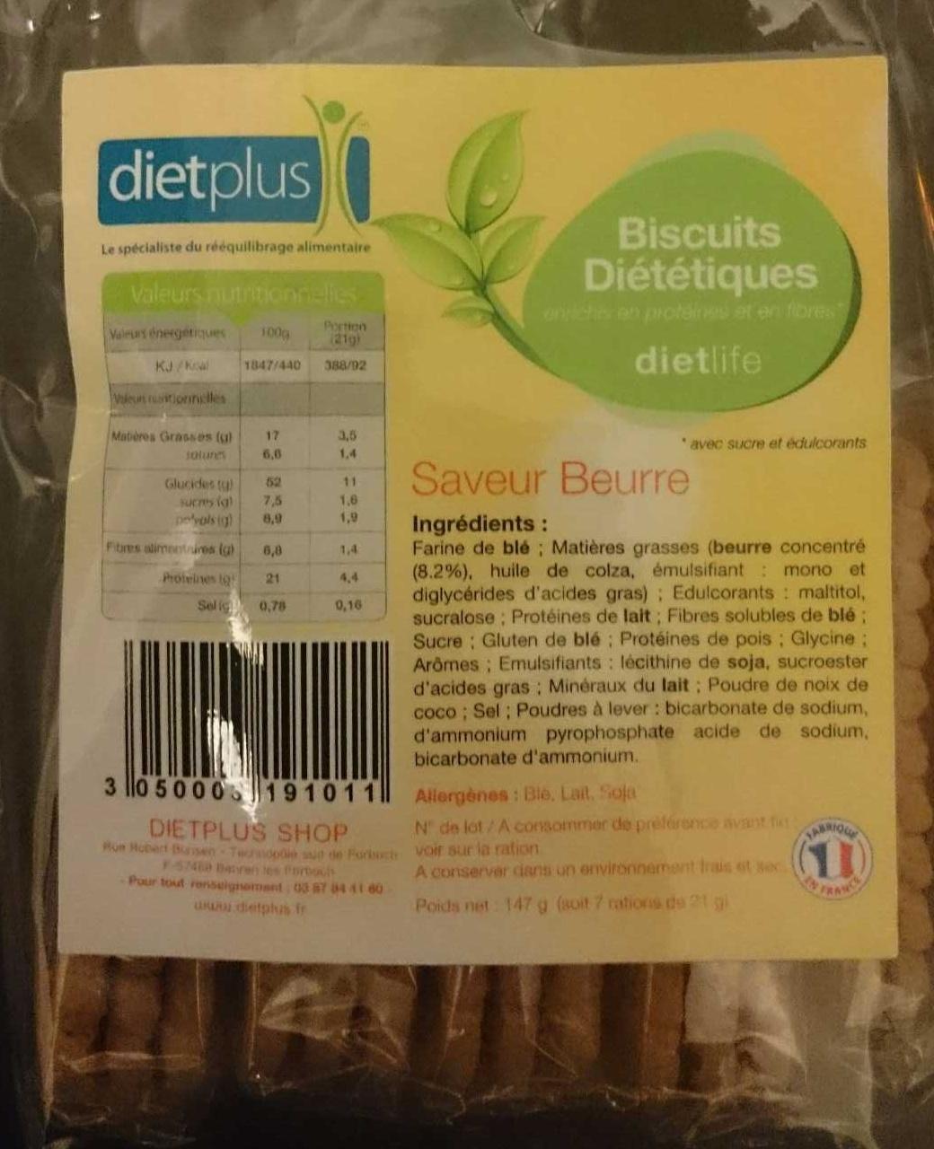 Biscuits diététiques saveur beurre - Product
