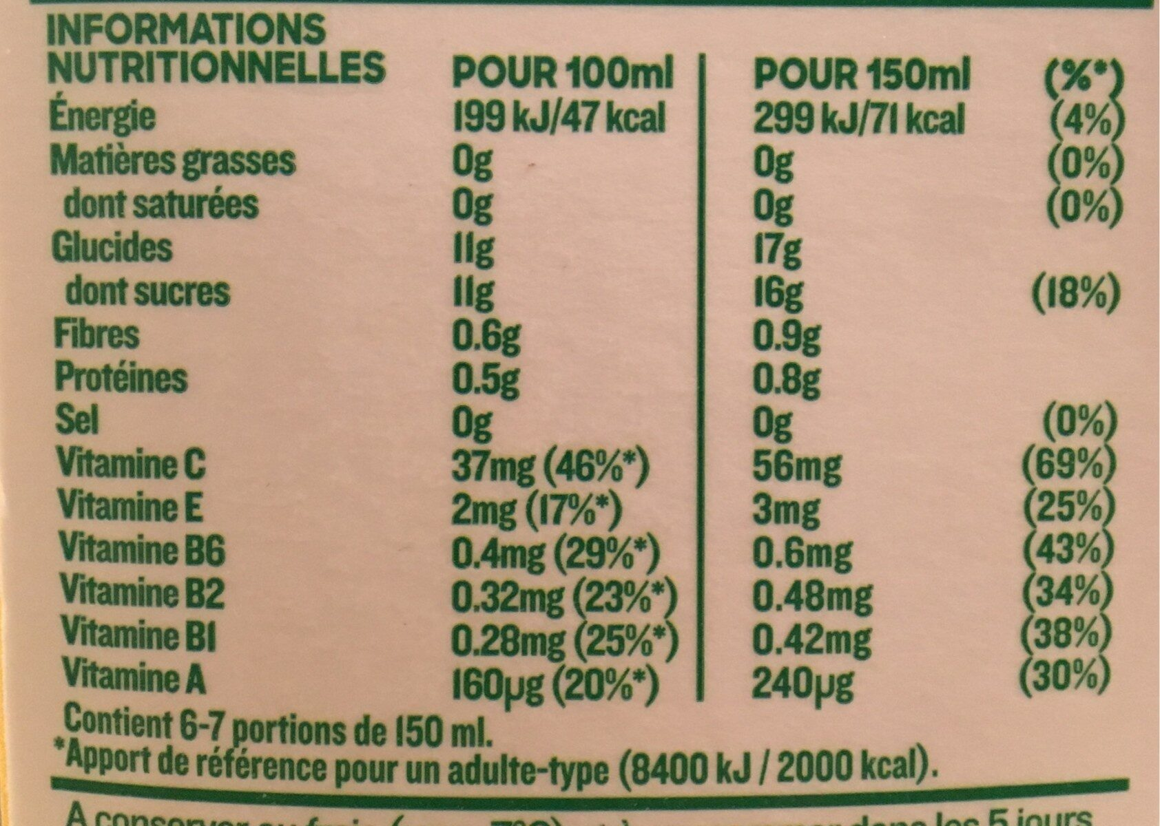 Tropicana multivitamines 1 L - Nutrition facts - fr