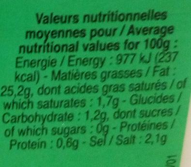 Vinaigrette nature allégée en matières grasses - Informations nutritionnelles