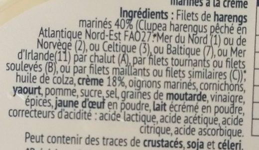 Filets de hareng à la crème - Ingredients - fr