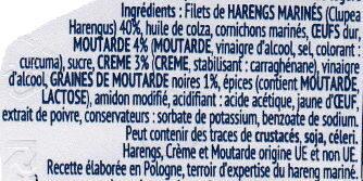 Filets de Hareng Crème et Moutard Légère - Ingrédients - fr