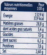 Filets de Hareng Crème et Moutard Légère - Informations nutritionnelles - fr