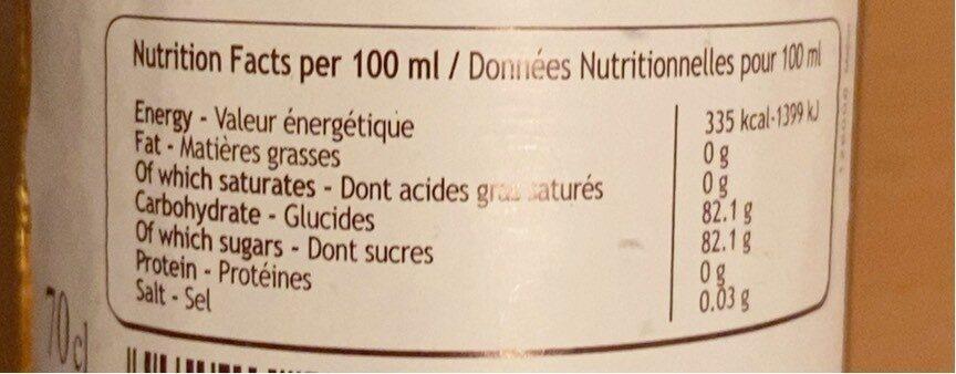 Monin - Melon Syrup 70cl Bottle - Informazioni nutrizionali - fr