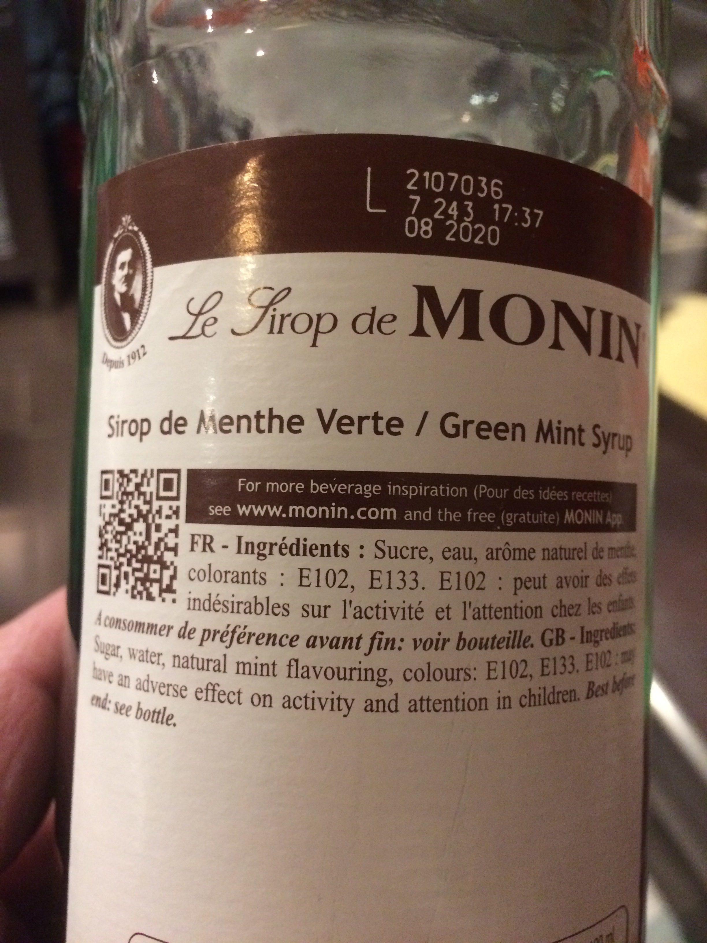 Le Sirop De Monin Menthe Verthe - Ingredients