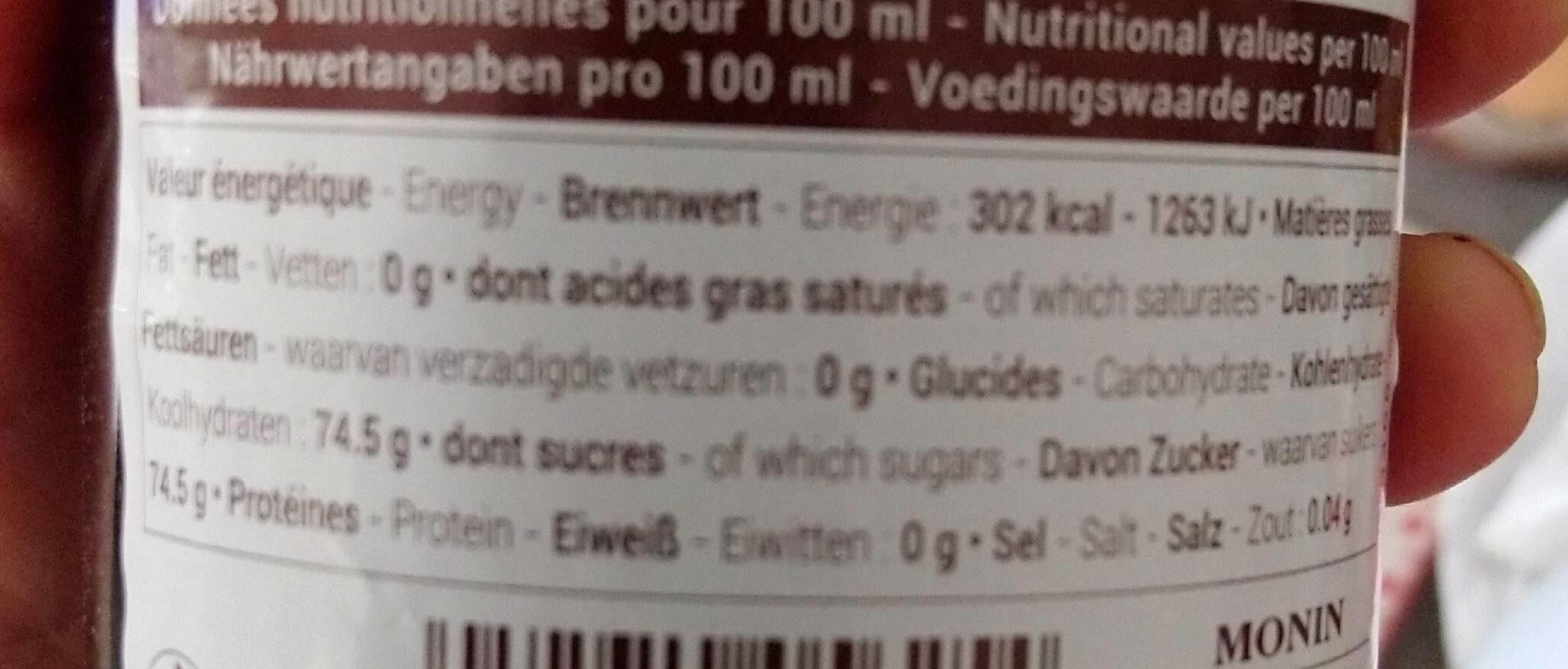 Grenadine Syrup - Informations nutritionnelles - fr