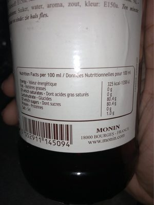 Le Sirop de Monin Caramel Salé  700 ml - Informations nutritionnelles - fr