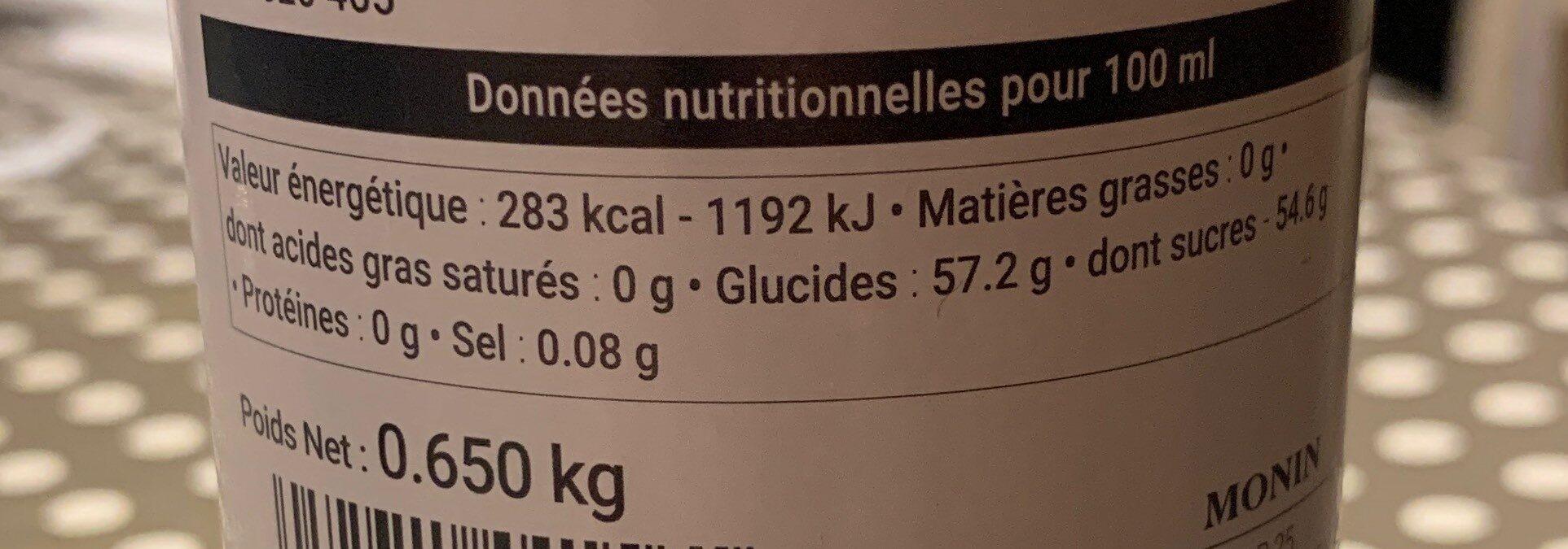 La Sauce de MONIN - Nutrition facts
