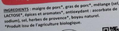 Chipolatas bio aux herbes - Ingrédients