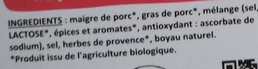 Chipolatas bio aux herbes - Ingrédients - fr