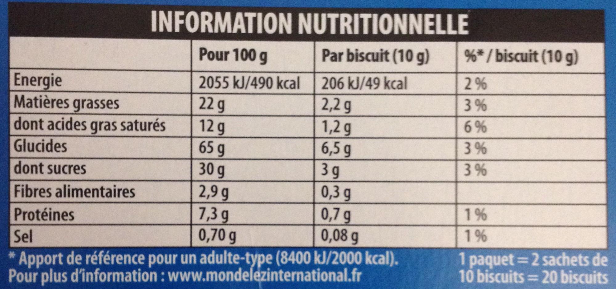 Pépito chocolat au lait - Informations nutritionnelles