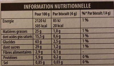 Petits coeurs chocolat - Informations nutritionnelles