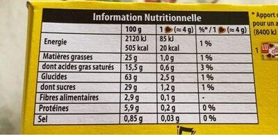 Petits coeurs chocolat - Informations nutritionnelles - fr