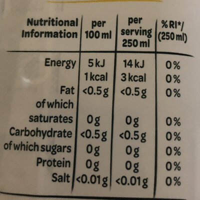 Touch of Fruit Sugar Free Lemon & Lime Flavoured Water - Informations nutritionnelles - en