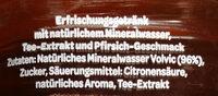 Erfrischungegetränk mit natürlichem Mineralwasser, Tee-Extrakt und Pfirsich-Geschmack. - Ingredientes - de