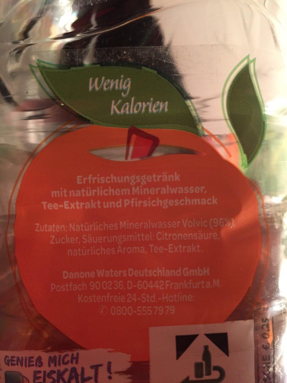 Erfrischungegetränk mit natürlichem Mineralwasser, Tee-Extrakt und Pfirsich-Geschmack. - Ingrédients