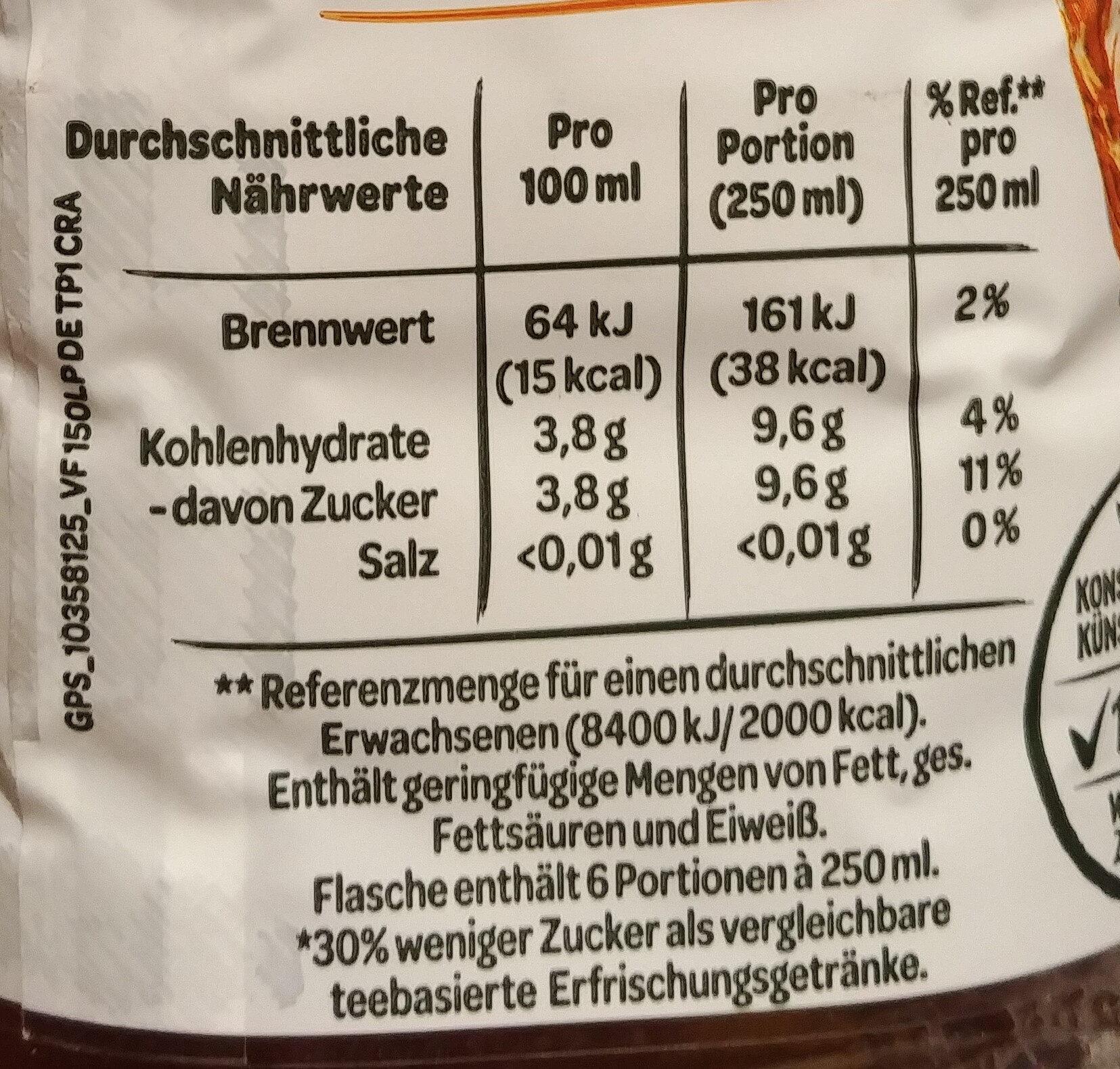 Erfrischungegetränk mit natürlichem Mineralwasser, Tee-Extrakt und Pfirsich-Geschmack. - Informations nutritionnelles