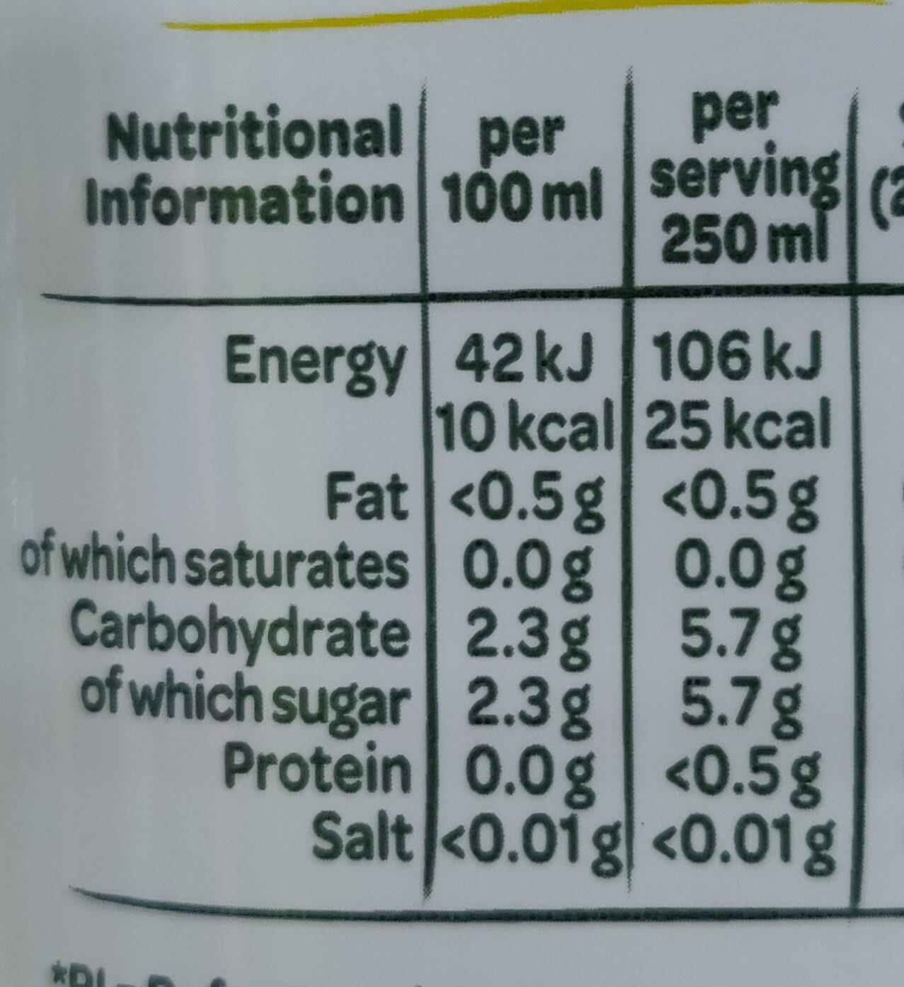 Touche de Fruit Citron-Citron vert - Informations nutritionnelles