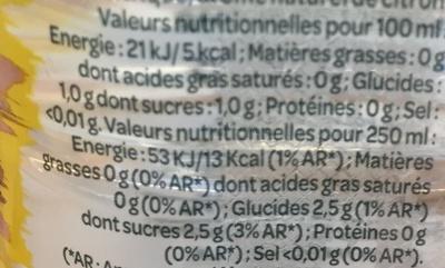 Eau minérale naturelle - Zest citron - Nutrition facts - fr