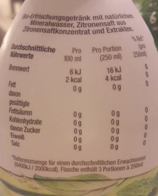 Minze- gurke - Nutrition facts - de